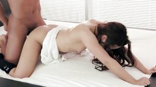 Brunette chick on xx porn riding a stone hard fuck stick