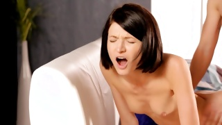 Brunette with small tits poked from behind on porn