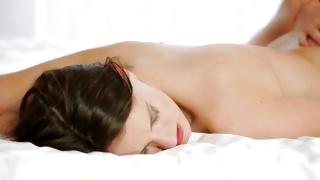 Nude brunette gets xxx massage before sex