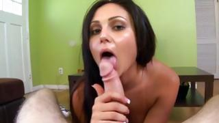 Brunette furious slutty amateur gf is going to give the barbaric blowjob to sexually weird schlong