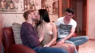 Flying high dark-haired is swallowing a tasty boner involved in 3some