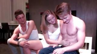 One immature female is in bed with both hulk fuck buddies getting truly immodest