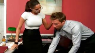 Amazingly hot young secretary is seduced by cruel dude