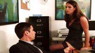 Sexy bitch in short dress is posing before horrible man