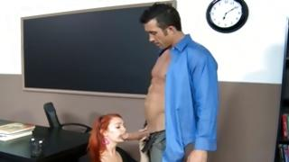 Foxy haired furious babe looks odorous with a fellow