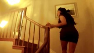 Weird slut scared coming inside the house