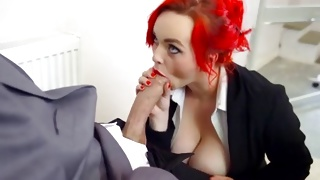 Red haired busty whore is sucking the monstrous weiner